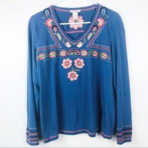 SUNDANCE | Floral Embroidered Long Sleeve Boho Top